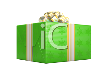 Royalty Free Clipart Image of a Green Present