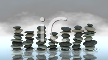 Royalty Free Clipart Image of Piles of Pebbles on Water