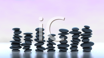 Royalty Free Clipart Image of Stacks of Stones Balancing