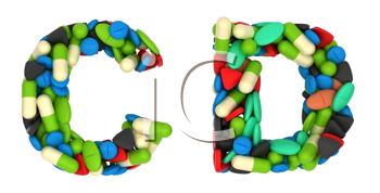 Royalty Free Clipart Image of Pharmaceutical Font C and D