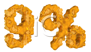 Royalty Free Clipart Image of Honey Numeral Fonts
