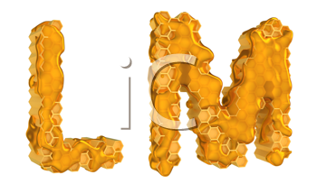 Royalty Free Clipart Image of the Letters L and M in Honey