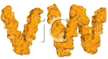 Royalty Free Clipart Image of the Letters V and W in Honey