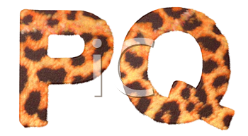 Royalty Free Clipart Image of Leopard Print P and Q