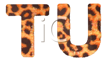 Royalty Free Clipart Image of Leopard Print T and U