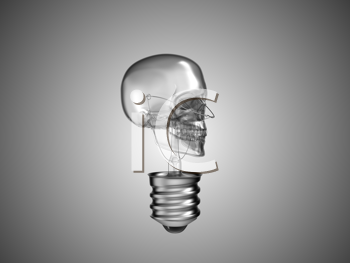 Royalty Free Clipart Image of a Skull Light Bulb