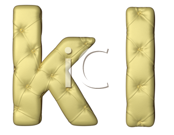 Royalty Free Clipart Image of Beige Leather Font of K and L