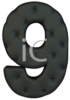 Royalty Free Clipart Image of a Black Leather Number Nine