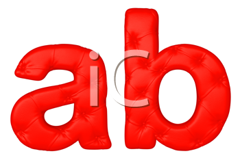 Royalty Free Clipart Image of a Red Leather Font A and B