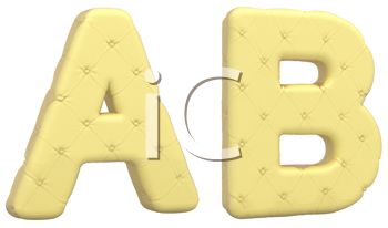 Royalty Free Clipart Image of a Beige Leather Font A and B