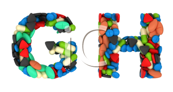 Royalty Free Clipart Image of Pharmaceutical Font G and H
