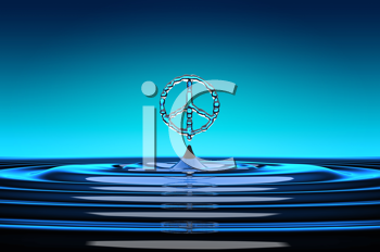 Royalty Free Clipart Image of a Peace Symbol in Water