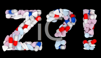 Royalty Free Clipart Image of a Pharmaceutical Font