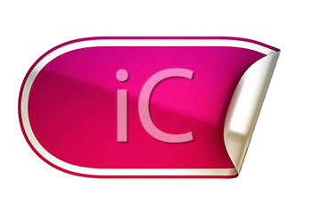 Royalty Free Clipart Image of a Rounded Pink Sticker