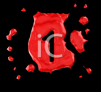 Royalty Free Clipart Image of a Red Number One in Paint