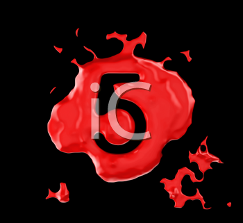 Royalty Free Clipart Image of a Red Number Five in Paint