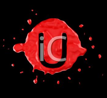 Royalty Free Clipart Image of the Letter U in Red Paint