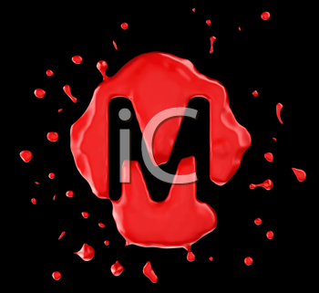 Royalty Free Clipart Image of the Letter M in Red Paint
