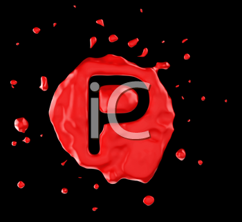 Royalty Free Clipart Image of the Letter P in Red Paint
