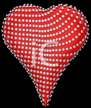 Royalty Free Clipart Image of a Diamond Incrusted Heart
