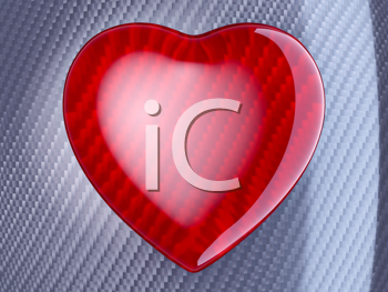 Royalty Free Clipart Image of a Red Wattled Fiber Heart