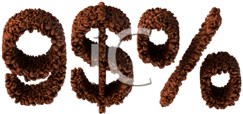 Royalty Free Clipart Image of Symbols Made From Coffee Beans