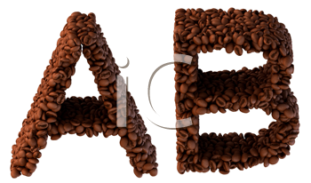 Royalty Free Clipart Image of Roasted Coffee Font A and B