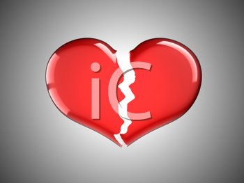 Royalty Free Clipart Image of a Broken Heart