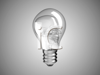 Royalty Free Clipart Image of a Skull Inside a Light Bulb