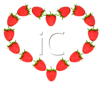 Royalty Free Clipart Image of a Heart Made from Strawberries