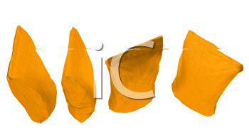 Royalty Free Clipart Image of Four Golden Packs for Coffee