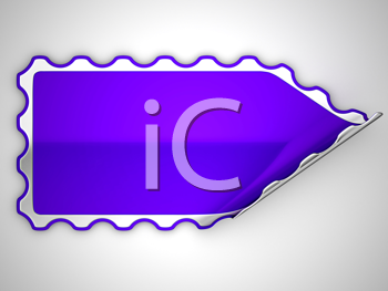 Royalty Free Clipart Image of a Violet Hamous Sticker