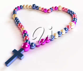 Abstract colorful rosary beads over white background