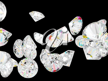 Diamonds or gemstones isolated over black background