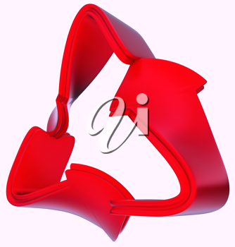 Ecological and recycling concept: red symbol isolated on white