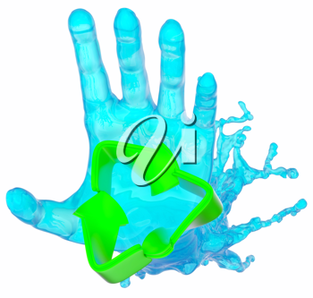 environment: helping liquid hand and recycling sign over white