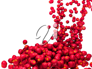 Harvest: Ripe red apple flow isolated over white background