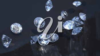 Large group of diamonds rolling over with reflection
