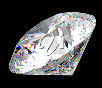 Precious gem: large diamond over black background