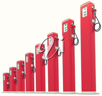 Red gasoline pumps chart: Rise in fuel cost. Isolated on white