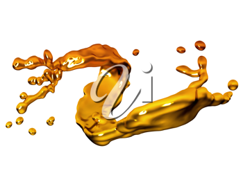 Splash of melted gold with drops isolated over white