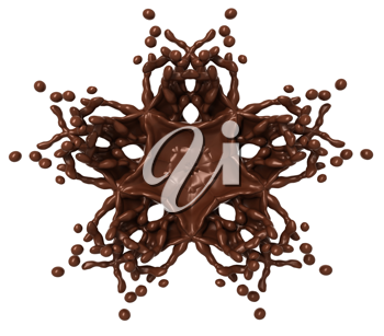 Star Splash: Liquid chocolate with drops isolated over white