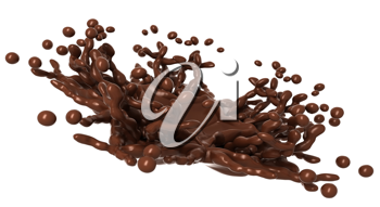 Tasty Splashes: Liquid chocolate with drops isolated over white