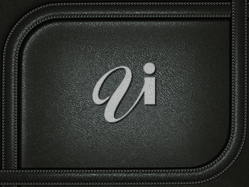 Black leather background with stitched rounded frame. Useful as business background