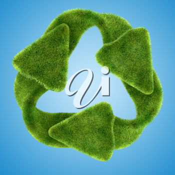 Ecological sustainability: green grass recycling symbol on blue