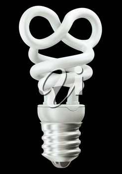 Endlessness or infinity symbol light bulb isolated over black bakcground