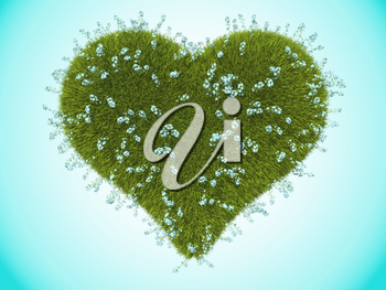 Green grass heart with forget-me-not flowers over blue