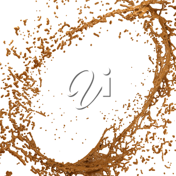 Hot chocolate or cocoa splash and droplets isolated over white