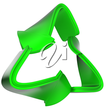 recycling concept: green recycle symbol isolated on white