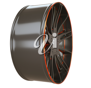 Side view of Alloy wheel or disc of sportcar isolated over white (custom rendered)